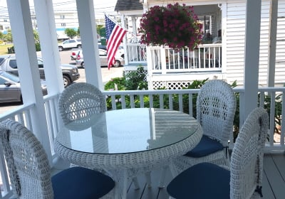 On the Victoria Front Porch: Enjoy your breakfast while watching the world go by.